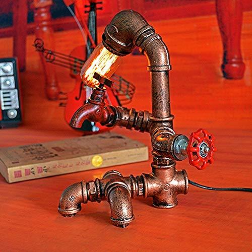 Lámpara Escritorio Lámpara industrial retra de la lámpara, barra de estudio, lámpara de decoración de café, lámpara de tubo de agua de hierro personalizada y creativa (19 * 22 * 29 cm, boca de torni