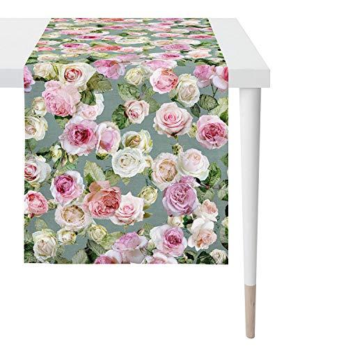 APELT Tischläufer Summergarden 1624 48x140 grün/Rose