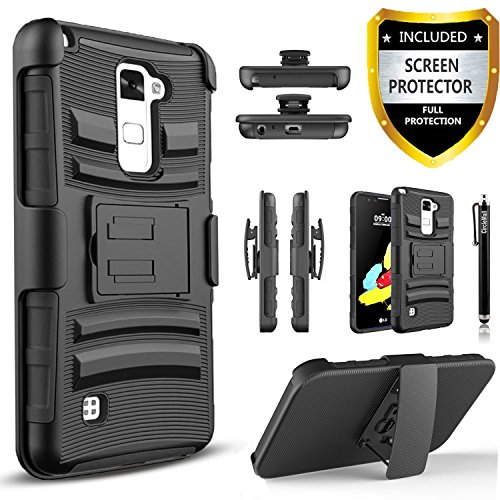 LG Stylo 2 Plus Case, LG Stylus 2 Plus Case, Combo Shell Cover Kickstand with Built-in Holster Locking Belt Clip+Circle(TM) Touch Screen Pen and Screen Protector-Black