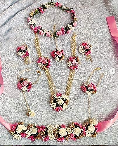 Jewellery Pearl Designer Multicolor Jwellery Set with 7 Items for Women Girls Mehandi Haldi Bridal Baby Shower