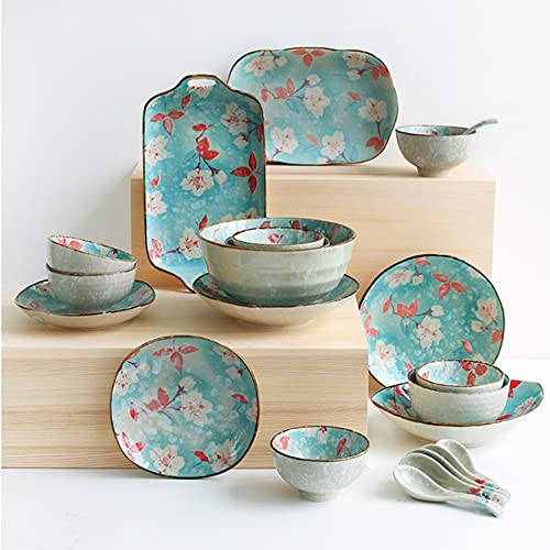 11 Pcs Dinnerware Sets, Porcelain Tableware Set with Plates Dishes and Bowls, Ceramic Dinner Set for Kitchen and Dinning, Microwave and Dishwasher Safe, Service for 2 Person, Floral Pattern