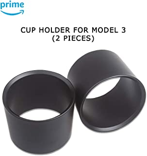 CoolKo Specialized Cup Holder Insert Expander Adapter Fit Most of Bottles for Model 3 - 2 Pieces [Black]