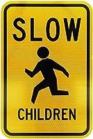 黄色のシンボルインチブラックの遅い子供学校のUV耐性と防水の警告サイン