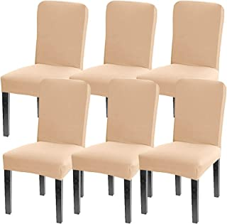 Leanking Knit Spandex Fabric Stretch Removable Washable Dining Room Chair Slipcover Home Decor Set of 4 (Beige Elastic, 6 Pcs)