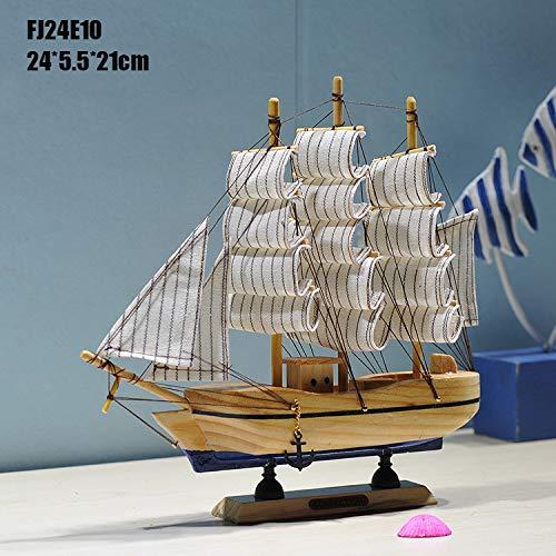 XIEPEI 24CM Segelboot Modell Mittelmeer Schmuck Home Massivholz handgeschnitzt Dekoration