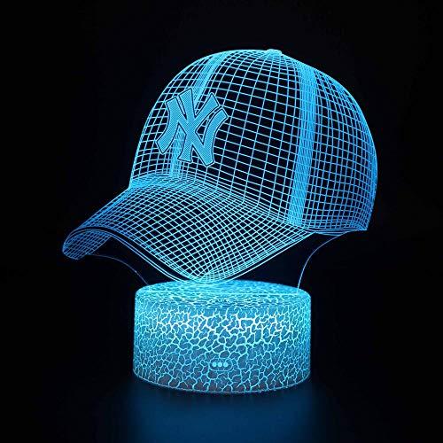 Lámpara 3D Ilusión Led 3D Luz de noche Sombrero regulable Control táctil Brillo Luz para decoración del hogar y regalos para amantes, padres, amigos, 16 colores