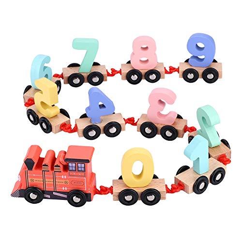 Jadpes Kinderanhänger, Anhänger Zug Blöcke Holzspielzeug Set, Kindheit Bildung aus Holz montiert Drag Gebäude Spielzeug aus Holz Digitale Zug Fahrzeug Blöcke Geometrie Farbe kognit