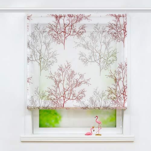 Joyswahl Voile Raffrollo mit Ästemotiv Druck transparente Raffgardine mit Klettschiene »Alexandra« Schals Fenster Gardine BxH 120x140cm Rot 1 Stück
