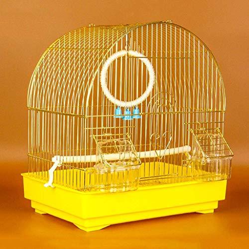 DFBGL Jaula para pájaros pequeña para Budgie Finch Lovebird Portátil de tamaño pequeño para pájaros Jaula de Viaje para Mascotas con Columpio y bañera Jaula de Metal para pájaros (Color: