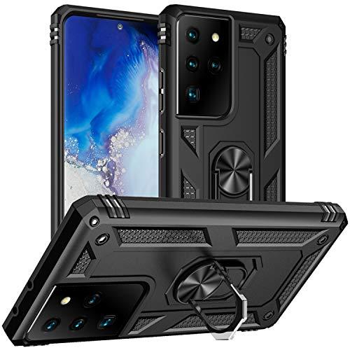 DAWEIXEAU Custodia Galaxy S21 Ultra,Silicone Armatura Antiurto Copertura Cassa Cover Case Supporto Stabile Protettiva Shell per Samsung Galaxy S21 Ultra 5G (Nero)