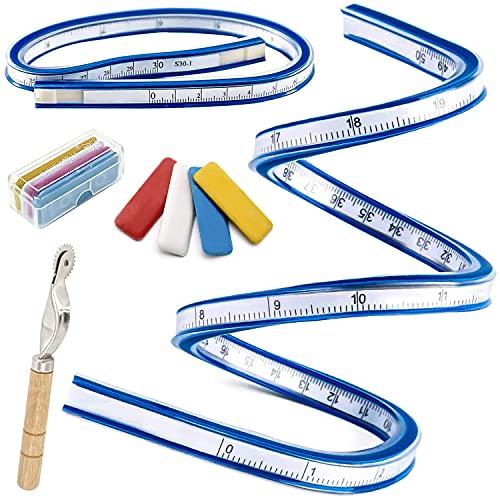 HJFH Curvilinee Righello Flessibile Deformabile 30cm+50cm Utilizzo Fronte/Retro di cm e Pollici per Cucire e Disegnare, Disegni Tecnici, Grafica e Abbigliamento