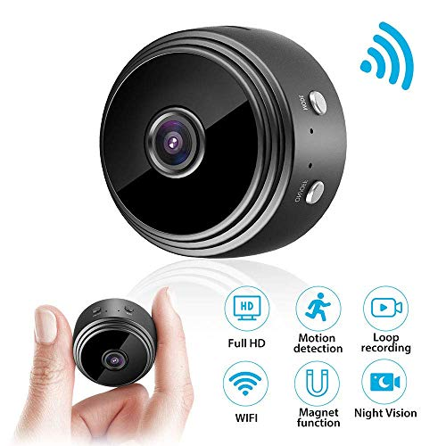 Mini Kamera, WiFi Full HD 1080P WLAN Tragbare Kleine Nanny Cam mit Bewegungserkennung und Infrarot Nachtsicht Mikro Wireless Kamera für Innen und Aussen Kamera