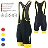 Didoo Mens Quality Cycling Bib Shorts Coolmax® Padding Cycle Tights Outdoor Biking Yellow