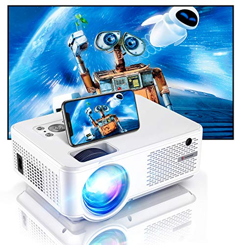 Bomaker Projector Full HD 1080P and 300 Inches Display Supported Native 800P and 200 ANSI Lumen WiFi Mini Portable Home Theater Outdoor Video Movie Projector Compatible with TV Stick iPhone