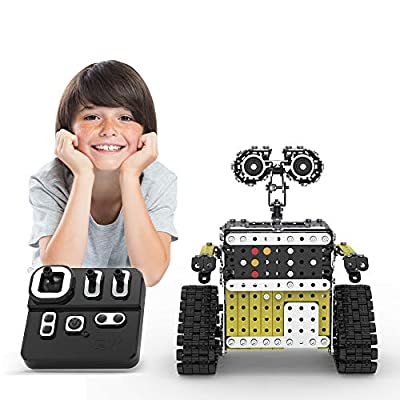Luisea DIY Building Block Robot Remote Control Robot Toys, Metal Robot Building Kit Toys for Boys & Girls, Assemblable Cute Robot Take Apart Robot Educational Toys Adults Kids