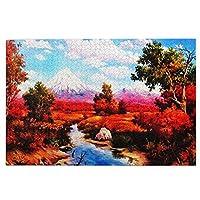 1000ピース ジグソーパズル 高い山の景色 秋 紅葉 ジグソーパズル 木製パズル Puzzles 50x75cm(6歳以上が適しています)