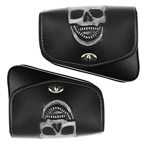 YHMTIVTU Motorcycle Saddle Bags Leather Tool Bag Skull Swingarm Bag Fit for Harley Sportster XL 883 1200 Suzuki Left and Right Side