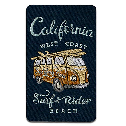 California Hippie Bus - Ecusson thermocollant patches appliques, Taille: 4,5 x 6 cm