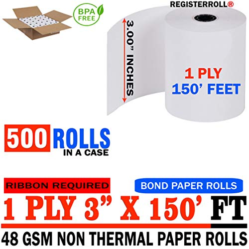 "3"" x 150' 1-Ply Bond (500 Rolls), Works for Epson TM-U200B, Epson TM-U200D, Epson TM-U210, Epson TM-U220 - from RegisterRoll (500 Rolls)"