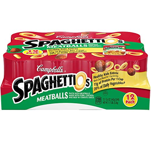 Spaghetti Canned Pasta with Meatballs (15.6 oz, 12 pk.) No Artificial Flavors/Colors