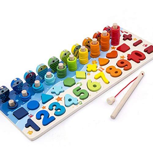 CandyTT Juguetes educativos de Madera, Tablero Ocupado para niños, matemáticas, Pesca, Madera para niños, Preescolar, Juguete Montessori, conteo de geometría (Multicolor)