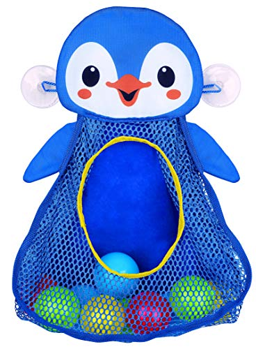 PlayGo Bath Toy Organizer Penguin   Four Suction Cups for Hanging   Bathtub Toys Holder   Bathroom Baby Toy Storage Quick Dry Bathtub Mesh Net   2 in 1  10 Pieces Colorful Soft Balls, 18703
