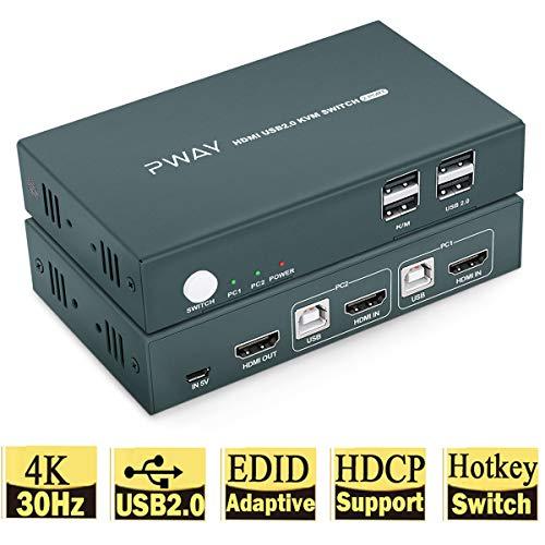 GHT HDMI KVM Switch USB 2 Port 4K Umschalter, 2 USB2.0, UHD 4K @ 30Hz YUV 4: 4: 4 Schalter 2 PC 1 Monitor,HDCP,Hotkey Switch,Mit Kabel
