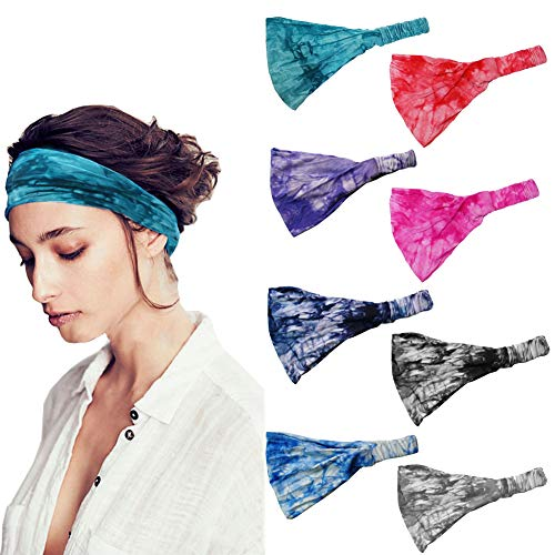 8Pcs Wide Elastic Headband for Women Boho Bandana Headbands Yoga Sports Headband Outdoor Hairband Adjustable Turban Headwrap Hair Accessories for Women Girls