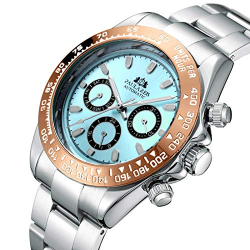 PAULAREIS Reloj de pulsera mecánico automático de acero inoxidable de 40 mm para hombre