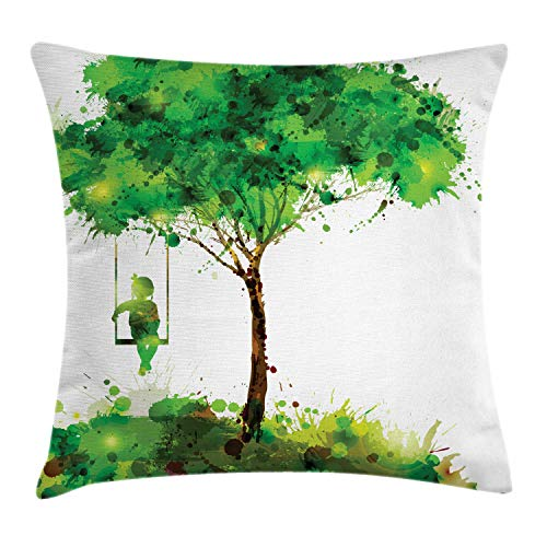 Ambesonne Green Abstract Throw Pillow Cushion Cover, Fine Art Themed Paint Splashes Made Girl on Swing Hanging on Tree, Decorative Square Accent Pillow Case, 20' X 20', Dark Brown and White
