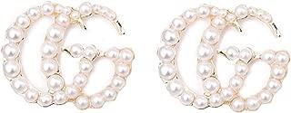 Luxury Letter G Pearl Initial Stud Earrings Drop...