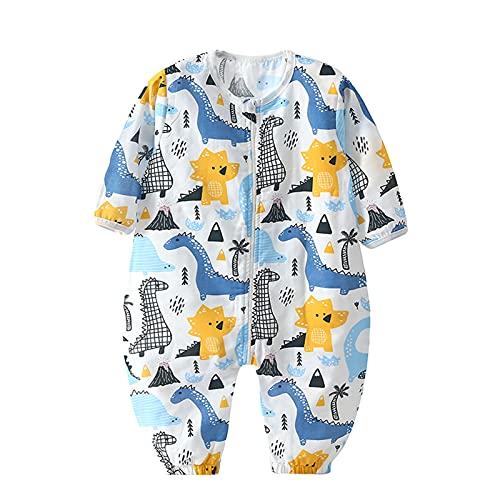 Bebé Saco de Dormir con Pies Pijama 0.5Tog Manga Larga Verano Mono Muselina de Algodón Transpirable Ropa de Dormir Mamelucos Niños Niñas (L) 1.5-3 años