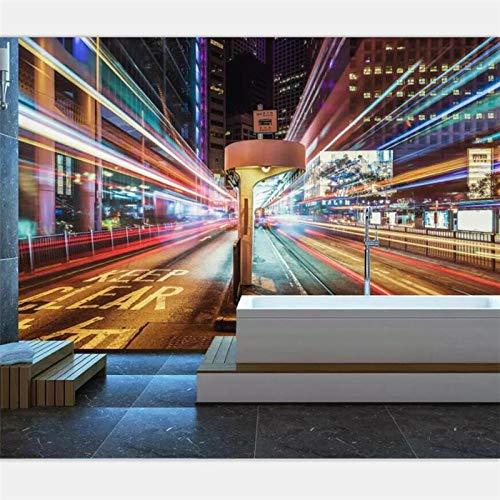 ZJfong Wallpaper Aangepaste grote schaal Gepersonaliseerde Bustling City Night Street Decoratie KTV Achtergrond Muur 42 x 260 cm.