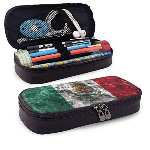 Bandera de México, cuero de la PU, lápiz, bolígrafo, bolsa, estuche, estuche, escuela, oficina, bolsa de maquillaje cosmético