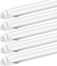 R17D/HO 8FT LED Light Bulbs - JESLED LED Tubes 45W (110w Equivalent), 6000K Cool White, 4800LM, Frosted Cover, Dual Ended Power, Ballast Bypass, F96T12/CW/HO Fluorescent Replacement (20-Pack)