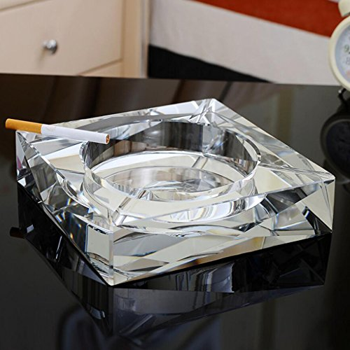 Rollsnownow Silber Kristall Glas Aschenbecher Kreative Persönliche Geschenk Geschenk Außendurchmesser 15 * 15 * 3 cm, Innendurchmesser 10 * 10 * 2,5 cm