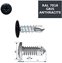 Vis autoperceuses 4,8x38 mm RAL 9005 noir fonc/é t/ête type rivet Ph par 100