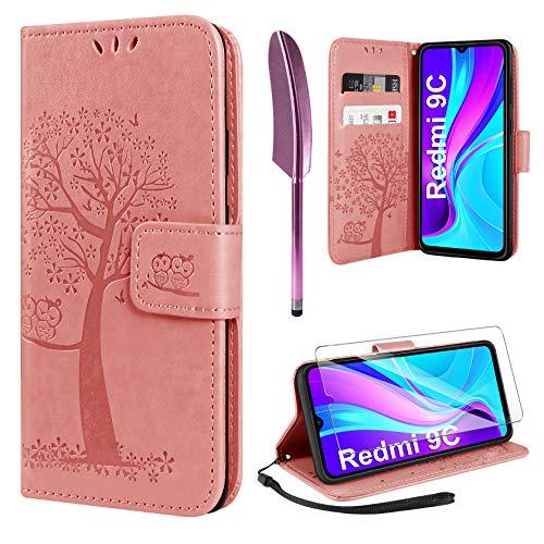 AROYI Handyhülle für Redmi 9C Hülle + Schutzfolie,Redmi 9C Klapphülle Hülle PU Leder Flip Wallet Schutzhülle für Redmi 9C Tasche (Rosa)