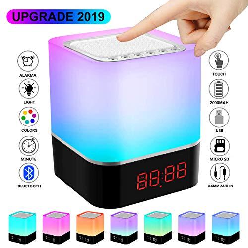 Bluetooth-Lautsprecher-Lampe, LED-Touch-Nachtlicht, tragbar, kabellos, Nachttischlampe, 5-in-1, wiederaufladbar, Farbwechsel, Stimmungs-Tischlampe für Männer, Frauen, Teenager, Kinder