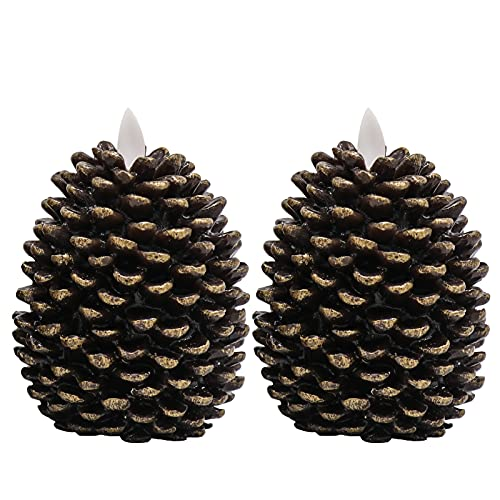 Wondise LED Flameless Candles, Battery Operated Pine Cone Design with Timer, Flickering Moving Wick Realistic Wax Candles, for Christmas Decoration, Set of 2 (3.5 x 4.7 Inches, Brown)