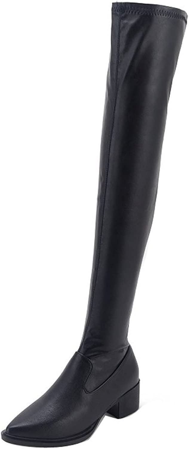 Ladola Womens Above-The-Knee Kitten Chunky Heels Solid Urethane Boots