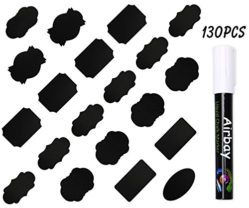 130 Chalkboard Labels,Airbay Reusable Chalkboard Stickers with 1 Erasable Chalk Markers For Mason Jars, Wine Glasses and Best Organize Your Home or Kitchen