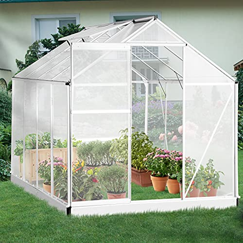 oneinmil Polycarbonate Walk-in Garden Greenhouse with Adjustable Roof Vent and Rain Gutter for Plants, Stable Green House for Flowers Outdoor for Winter,8 x 6 x 6.8 FT