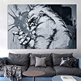wZUN Graffiti Gorilla Lienzo Pintura Arte de la Pared Street Gorilla Poster Animal Poster decoración de la Sala de Estar decoración del hogar 60x95 Sin Marco