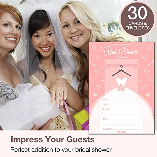 30 Bridal Shower Invitations with Envelopes (30 Pack) - Wedding Shower Invitations