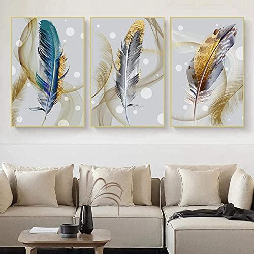HGUT Cuadro abstracto nórdico de plumas doradas, pintura de plumas multicolor, póster...
