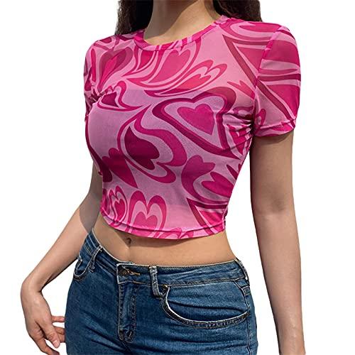 EveryLu Sexy Mujeres Sheer Mesh Crop Top Impresión Corazón Manga Corta Ver A Través Top Camiseta Verano Blusa Y2K Streetwear