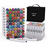 Markers Set with Base, 80 Colors Art Marker Pen Set for Kids and Adult, Double-Ended Alcohol Based Drawing Art Supplies with Fashion Carrying Case and Upgraded Base, Back to School Art Supplies