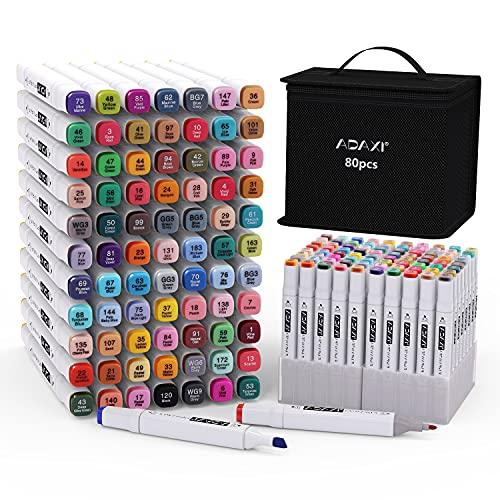 Markers Set with Base, 80 Colors Art...