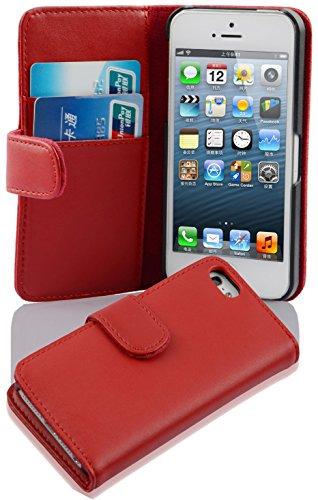 Cadorabo Funda Libro para Apple iPhone 5 / iPhone 5S / iPhone SE en Rojo DE Chile - Cubierta Proteccíon de Cuero Sintético Liso con Tarjetero y Función de Suporte - Etui Case Cover Carcasa